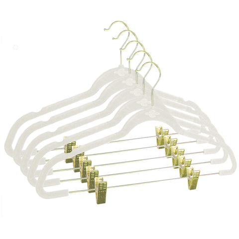 Closet Complete Velvet Hangers 5 / Ivory / Gold Premium Heavyweight 90g Velvet Hangers with Clips
