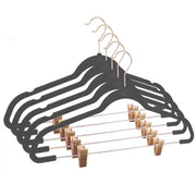 Closet Complete Velvet Hangers 5 / Heather Gray / Rose Gold Premium Heavyweight 90g Velvet Hangers with Clips