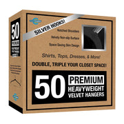 Closet Complete Velvet Hangers 50 / Black / Chrome Premium Heavyweight Velvet Shirt/Dress Hangers