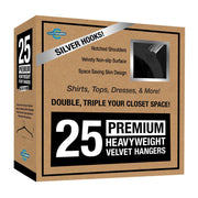 Closet Complete Velvet Hangers 25 / Black / Chrome Premium Heavyweight Velvet Shirt/Dress Hangers