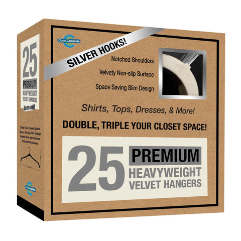 Closet Complete Velvet Hangers 25 / Ivory / Chrome Premium Heavyweight Velvet Shirt/Dress Hangers
