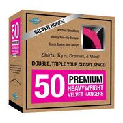 Closet Complete Velvet Hangers 50 / Pink / Chrome Premium Heavyweight Velvet Shirt/Dress Hangers