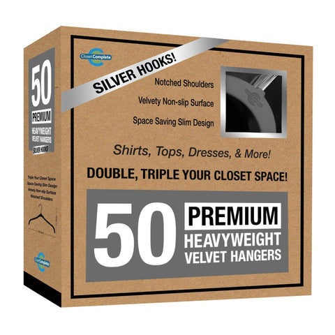 Closet Complete Velvet Hangers 50 / Heather Gray / Chrome Premium Heavyweight Velvet Shirt/Dress Hangers