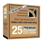 Closet Complete Velvet Hangers 25 / Camel / Chrome Premium Heavyweight Velvet Shirt/Dress Hangers