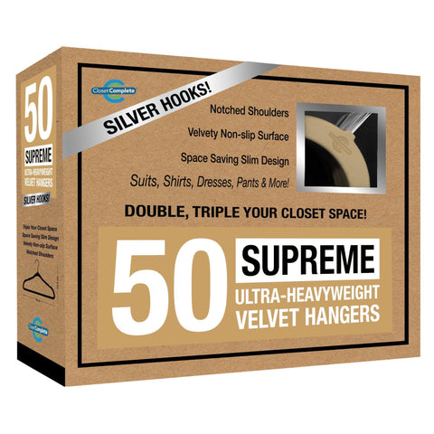 Closet Complete Velvet Hangers 50 / Camel / Chrome Supreme Ultra-Heavyweight 85g Velvet Suit Hangers