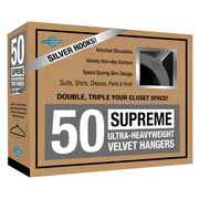 Closet Complete Velvet Hangers 50 / Heather Gray / Chrome Supreme Ultra-Heavyweight 85g Velvet Suit Hangers