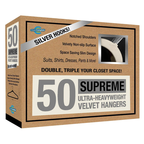 Closet Complete Velvet Hangers 50 / Ivory / Chrome Supreme Ultra-Heavyweight 85g Velvet Suit Hangers