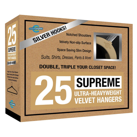Closet Complete Velvet Hangers 25 / Camel / Chrome Supreme Ultra-Heavyweight 85g Velvet Suit Hangers