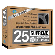 Closet Complete Velvet Hangers 25 / Heather Gray / Chrome Supreme Ultra-Heavyweight 85g Velvet Suit Hangers