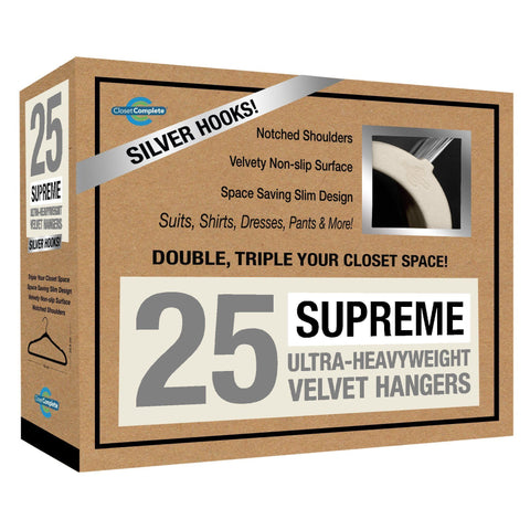 Closet Complete Velvet Hangers 25 / Ivory / Chrome Supreme Ultra-Heavyweight 85g Velvet Suit Hangers