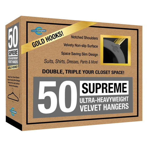 Closet Complete Velvet Hangers 50 / Heather Gray / Gold Supreme Ultra-Heavyweight 85g Velvet Suit Hangers