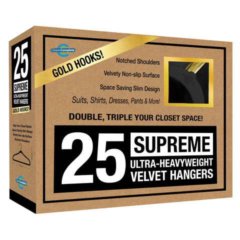 Closet Complete Velvet Hangers 25 / Black / Gold Supreme Ultra-Heavyweight 85g Velvet Suit Hangers