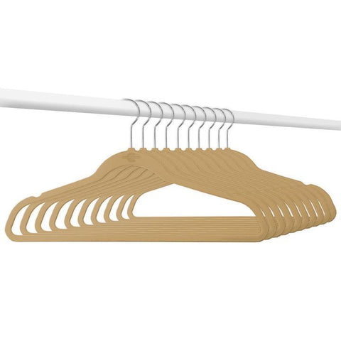 Closet Complete Velvet Hangers 10 / Camel / Chrome Supreme Ultra-Heavyweight 85g Velvet Suit Hangers 71630