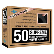 Closet Complete Velvet Hangers 50 / Black / Rose Gold Supreme Ultra-Heavyweight 85g Velvet Suit Hangers
