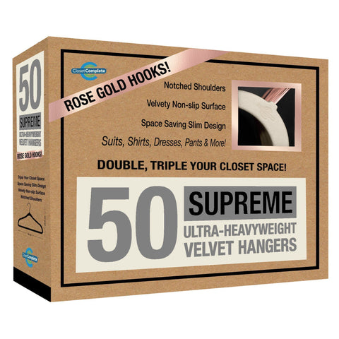 Closet Complete Velvet Hangers 50 / Ivory / Rose Gold Supreme Ultra-Heavyweight 85g Velvet Suit Hangers