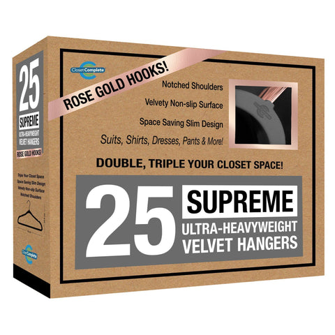 Closet Complete Velvet Hangers 25 / Heather Gray / Rose Gold Supreme Ultra-Heavyweight 85g Velvet Suit Hangers
