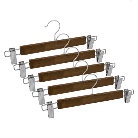 Closet Complete Wood Hangers 5 / Distressed Natural / Chrome Premium Wood Pants/Skirt Hangers with Clips