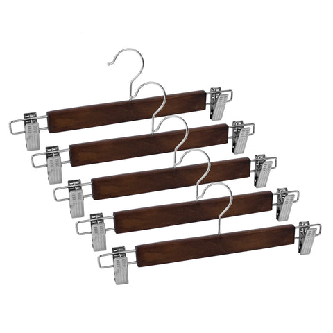 Closet Complete Wood Hangers 5 / Walnut / Chrome Premium Wood Pants/Skirt Hangers with Clips