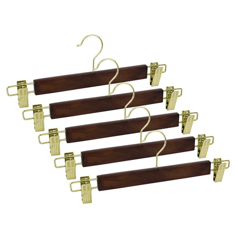 Closet Complete Wood Hangers 5 / Walnut / Gold Premium Wood Pants/Skirt Hangers with Clips