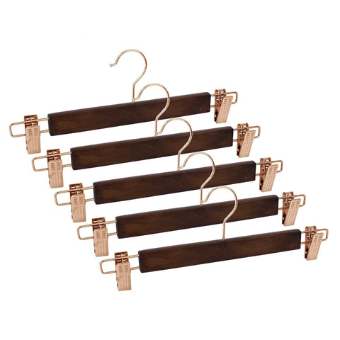 Closet Complete Wood Hangers 5 / Walnut / Rose Gold Premium Wood Pants/Skirt Hangers with Clips