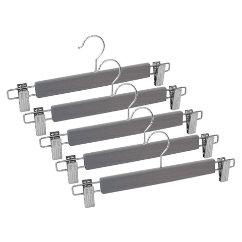 Closet Complete Wood Hangers 5 / Distressed Gray / Chrome Premium Wood Pants/Skirt Hangers with Clips