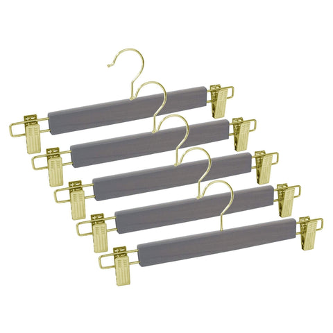 Closet Complete Wood Hangers 5 / Distressed Gray / Gold Premium Wood Pants/Skirt Hangers with Clips