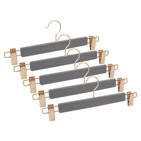 Closet Complete Wood Hangers 5 / Distressed Gray / Rose Gold Premium Wood Pants/Skirt Hangers with Clips