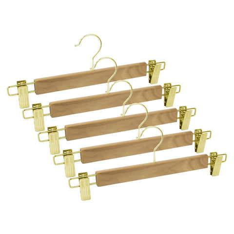 Closet Complete Wood Hangers 5 / Natural / Gold Premium Wood Pants/Skirt Hangers with Clips