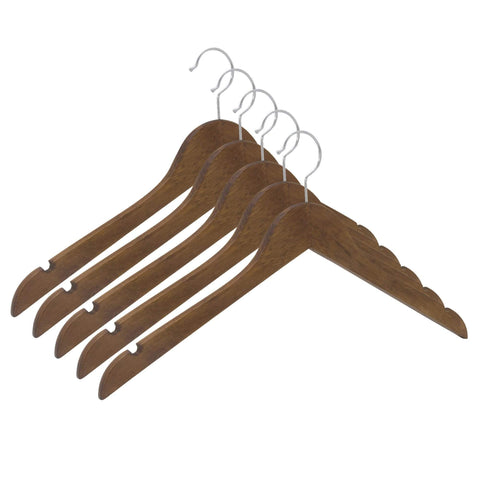 Closet Complete Wood Hangers 5 / Distressed Natural / Chrome Premium Wood Shirt Hangers