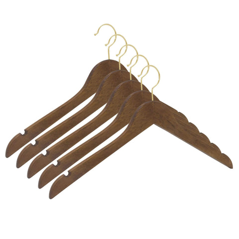 Closet Complete Wood Hangers 5 / Distressed Natural / Gold Premium Wood Shirt Hangers