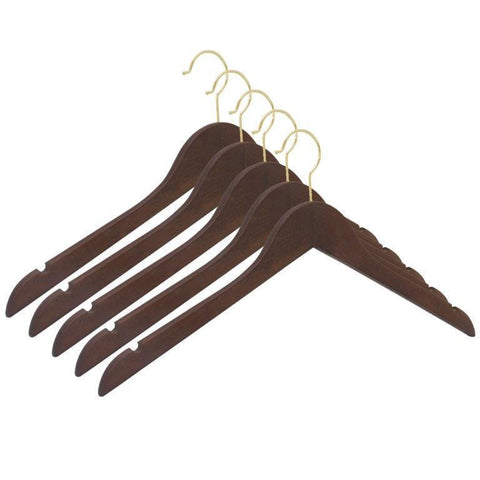 Closet Complete Wood Hangers 5 / Walnut / Gold Premium Wood Shirt Hangers