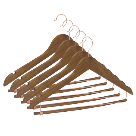 Closet Complete Wood Hangers 5 / Distressed Natural / Rose Gold Premium Wooden Suit Hangers with Locking Pants Bar