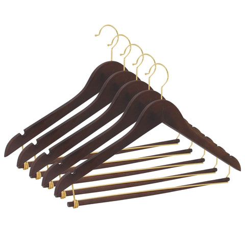 Closet Complete Wood Hangers 5 / Walnut / Gold Premium Wooden Suit Hangers with Locking Pants Bar