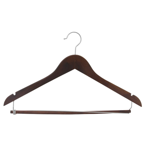 Closet Complete Wood Hangers 5 / Natural / Gold Premium Wooden Suit Hangers with Locking Pants Bar