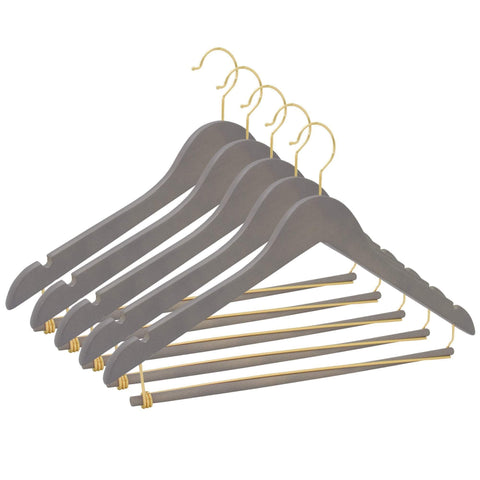 Closet Complete Wood Hangers 5 / Distressed Gray / Gold Premium Wooden Suit Hangers with Locking Pants Bar