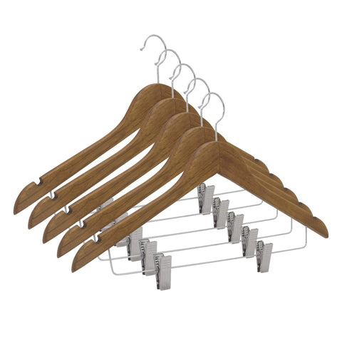 Closet Complete Wood Hangers 5 / Distressed Natural / Chrome Premium Wooden Pants/Skirt Hangers with Clips
