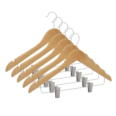 Closet Complete Wood Hangers 5 / Natural / Chrome Premium Wooden Pants/Skirt Hangers with Clips