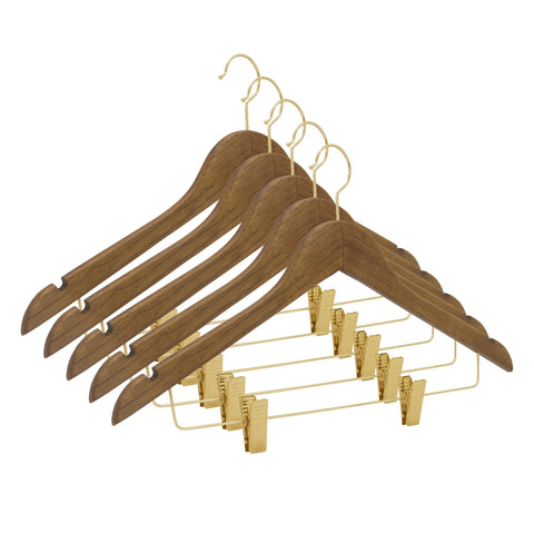 Closet Complete Wood Hangers 5 / Distressed Natural / Gold Premium Wooden Pants/Skirt Hangers with Clips