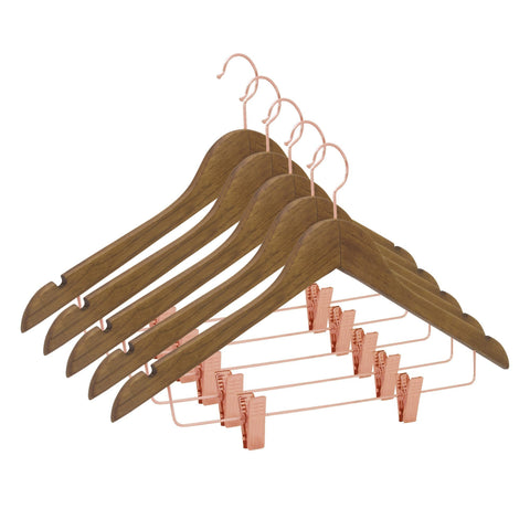 Closet Complete Wood Hangers 5 / Distressed Natural / Rose Gold Premium Wooden Pants/Skirt Hangers with Clips
