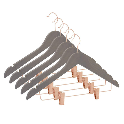 Closet Complete Wood Hangers 5 / Distressed Gray / Rose Gold Premium Wooden Pants/Skirt Hangers with Clips