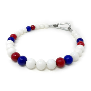 Beaded Retainer Ring Sling - White Red Blue