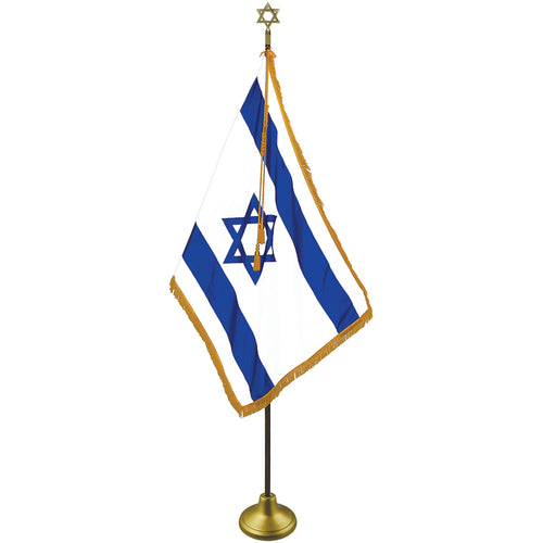 Israel (Zion) Deluxe Indoor Flag Set - Oak Pole