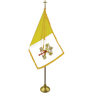 Papal Deluxe Indoor Flag Set - Oak Pole