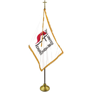 United Methodist Deluxe Indoor Flag Set - Oak Pole