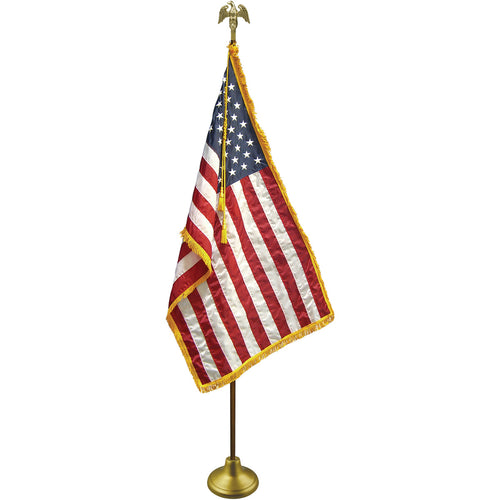 Deluxe US Flag Indoor Flag Set with Oak Pole