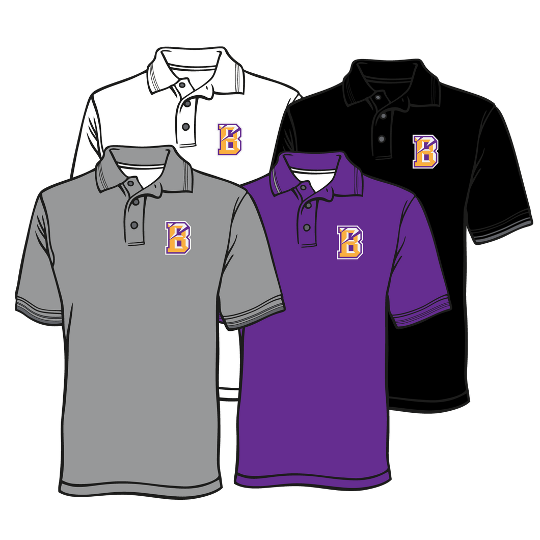 BENTON MIDDLE SCHOOL: DRI FIT POLO B LOGO   ***PLEASE PUT STUDENTS GRADE IN PLACE OF TEACHER NAME    ***ORDERS TAKEN THROUGH OCT 7TH