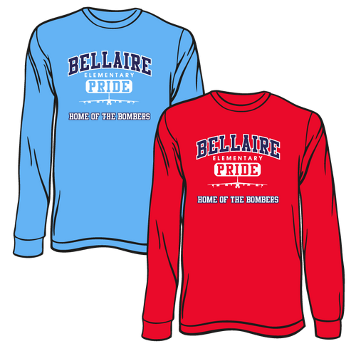 BELLAIRE ELEMENTARY SPIRIT TEES: LONG SLEEVE    TAKING ORDERS THROUGH SEPTEMBER 24TH
