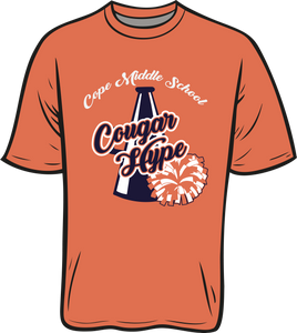 COPE MIDDLE SCHOOL: PEP SQUAD LONG SLEEVE TEES    ***TAKING ORDERS THROUGH JULY 20TH FOR PICK UP AT THE SCHOOL AFTER AUGUST 7TH.   ***PLEASE PUT STUDENTS GRADE INSTEAD OF TEACHER.