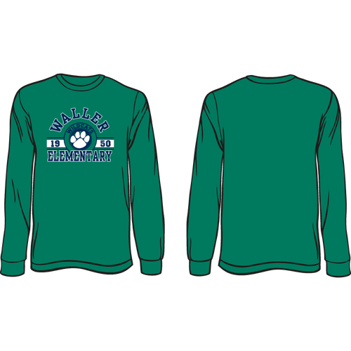 WALLER ELEMENTARY LONG SLEEVE SPIRIT TEE  *AVAILABLE TO ORDER NOVEMBER 4TH-NOVEMBER 27* ALL ORDERS WILL BE SHIPPED TO THE SCHOOL THE FIRST WEEK OF DECEMBER!!