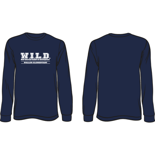 WALLER ELEMENTARY LONG SLEEVE WILD TEE  *AVAILABLE TO ORDER OCTOBER 16-OCTOBER 31* ALL ORDERS WILL BE SHIPPED TO SCHOOL!